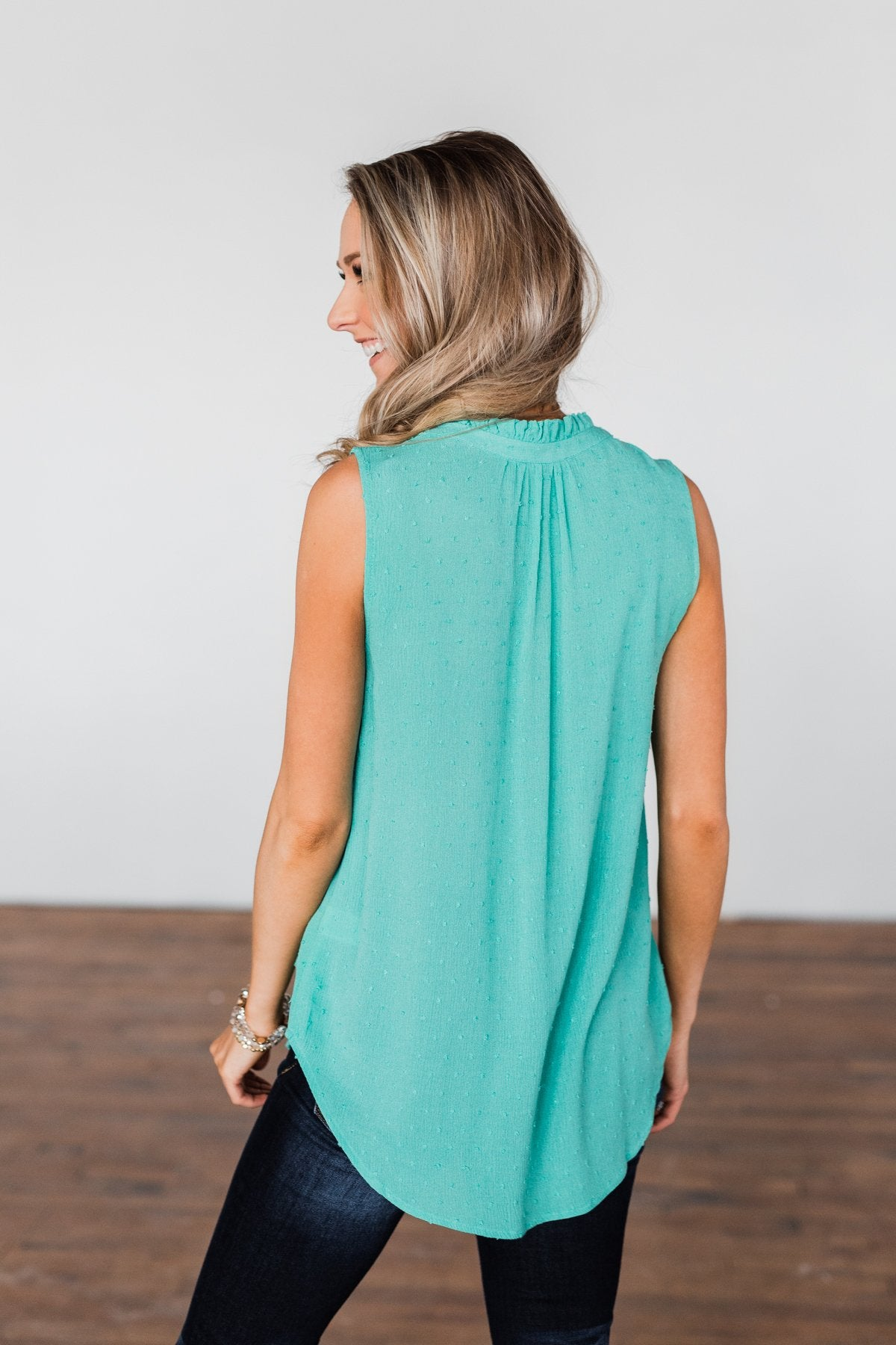Tell My Story Neck Tie Tank Top- Dark Mint