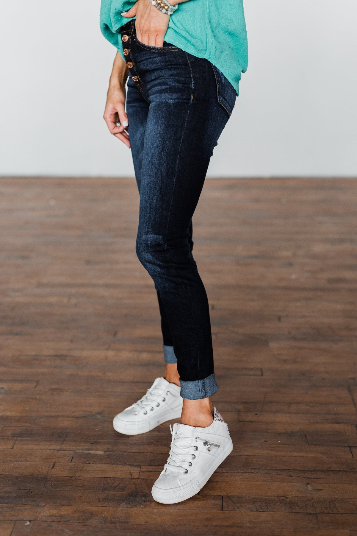 KanCan Button Fly Jeans- Dark Hope Wash