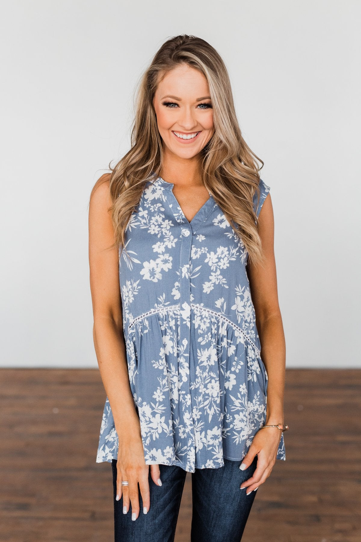Set Me Free Floral Babydoll Tank Top- Dusty Blue