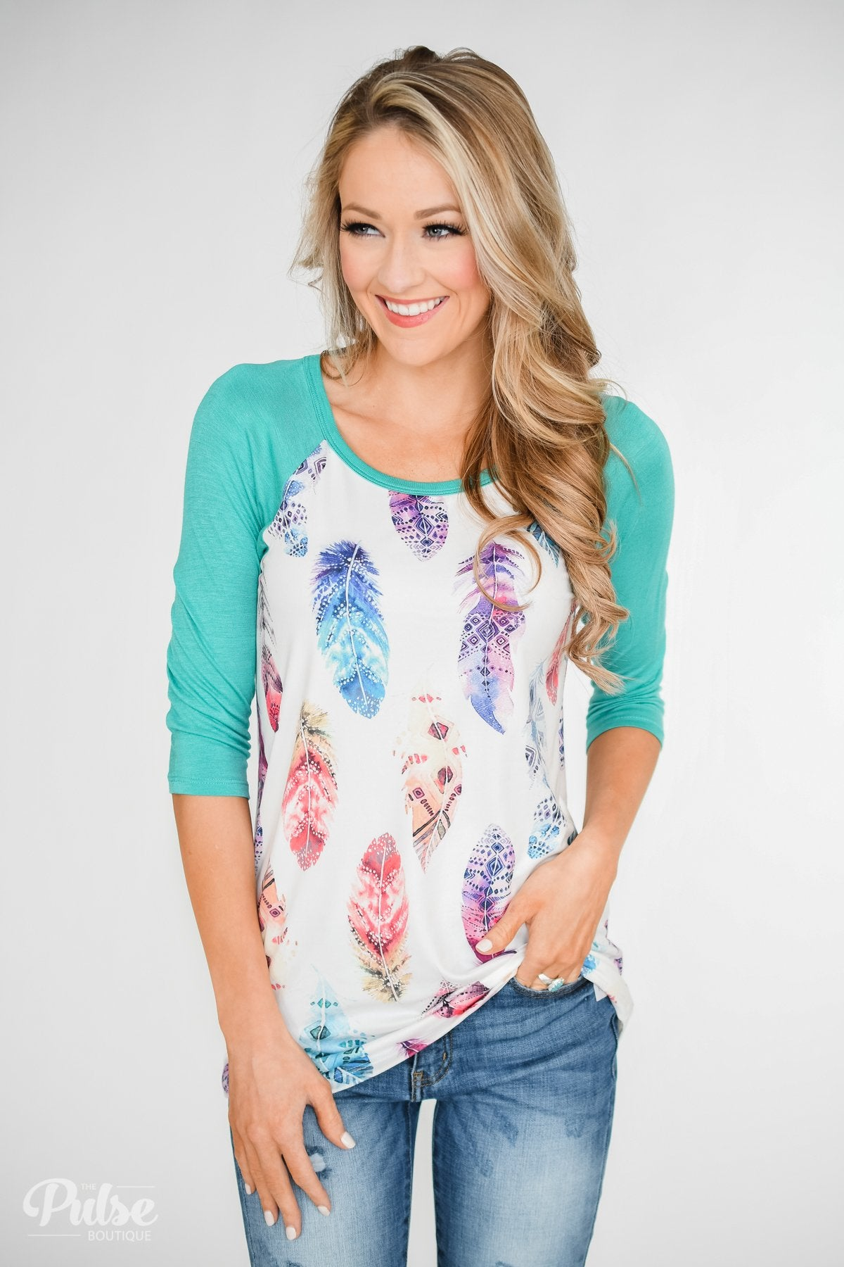 Aztec Feather 3/4 Sleeve Top- Teal