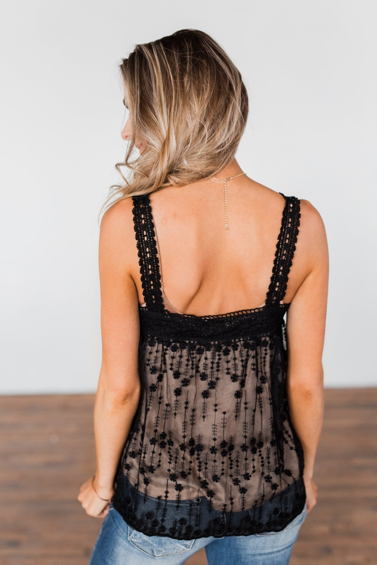 Worth The Wait Lace Tank- Black