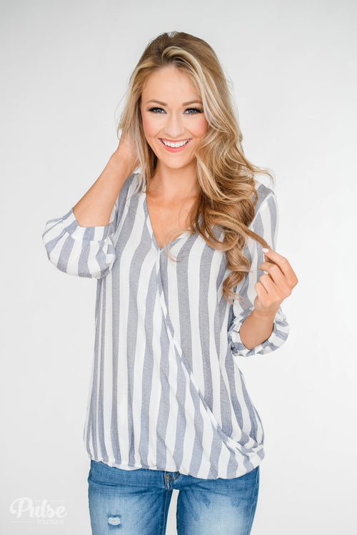 Striped V-Neck Wrap Top - Ivory & Denim
