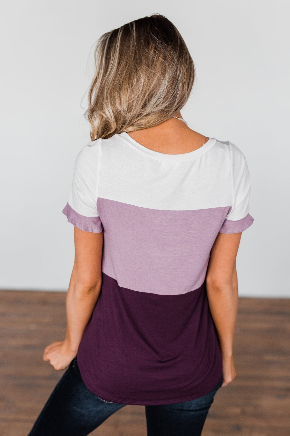 Show Me How Color Block Top- Shades Of Purple