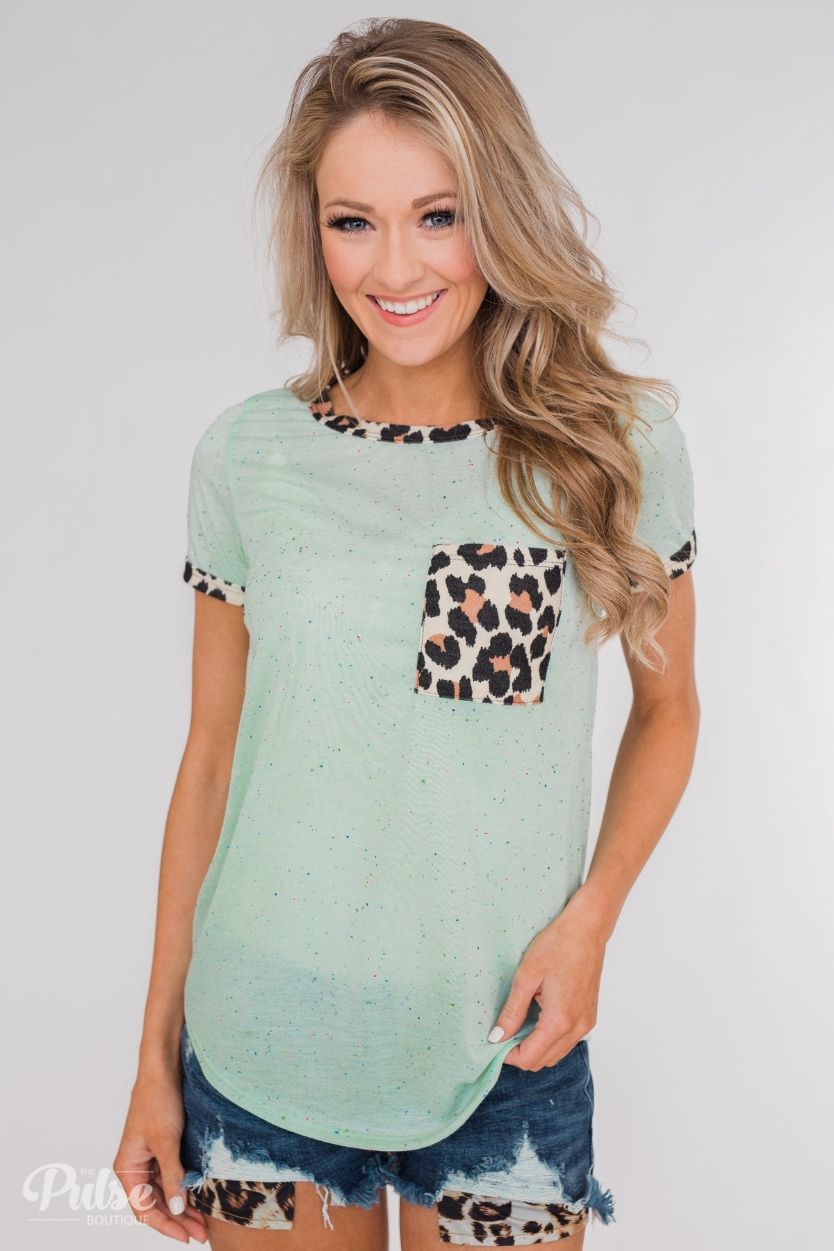 Constant Excitement Confetti & Leopard Pocket Top- Mint