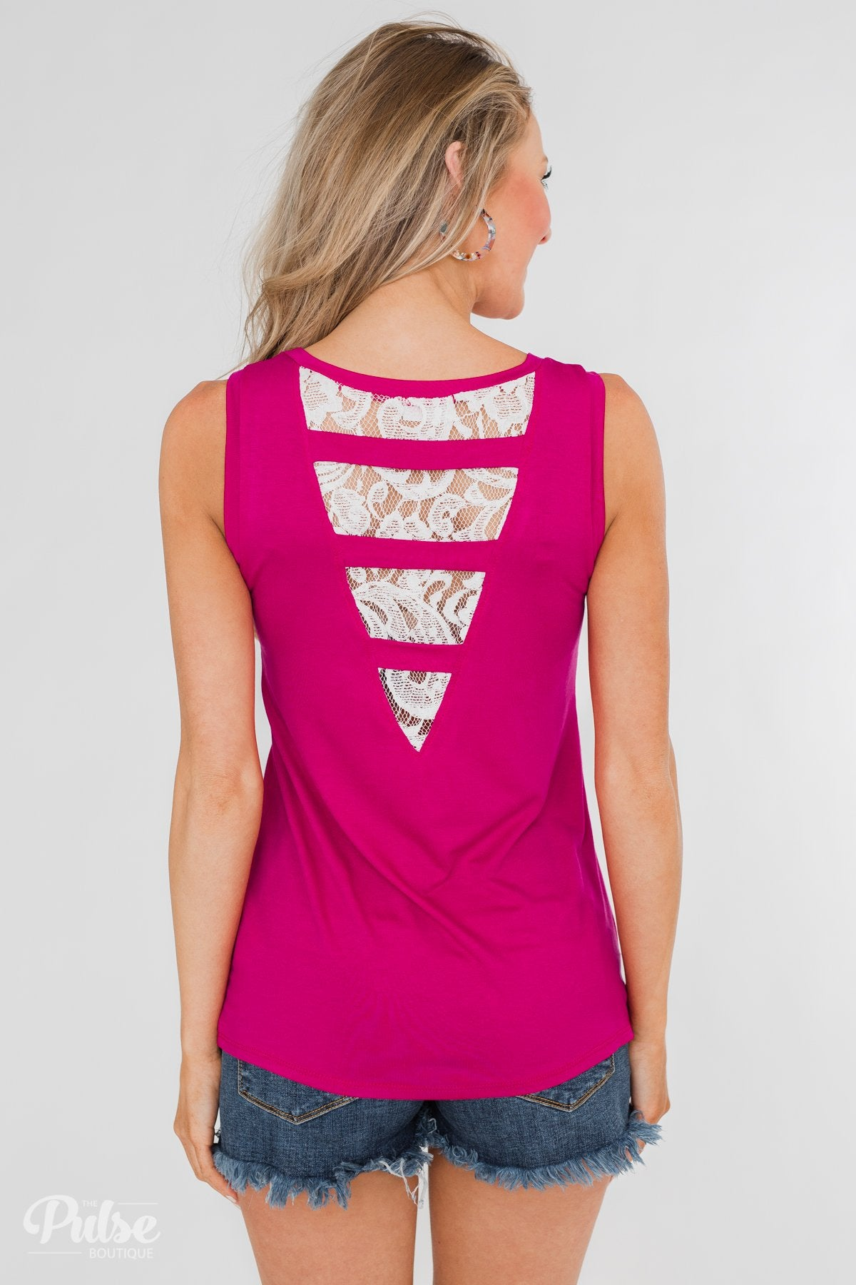 Lace Back Pocket Tank Top- Fuchsia