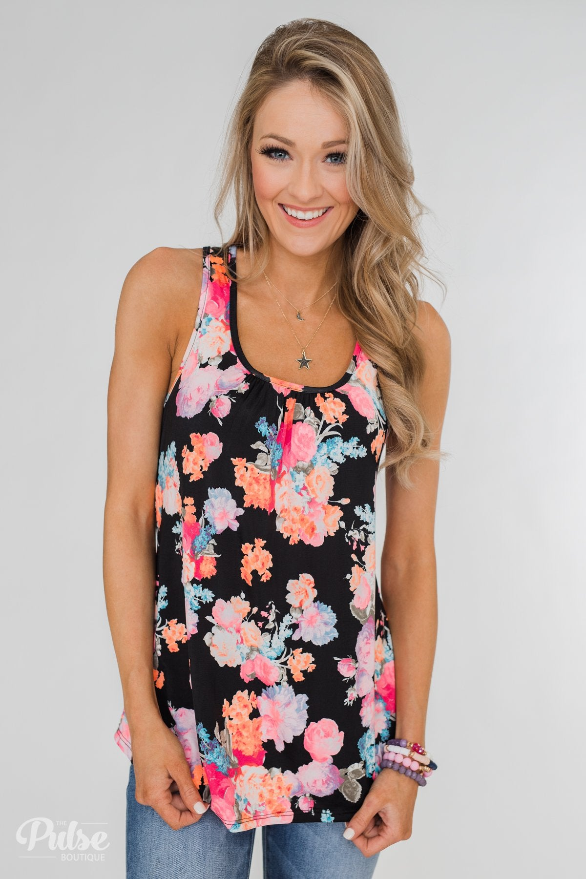 A Coral Floral Summer Tank- Black