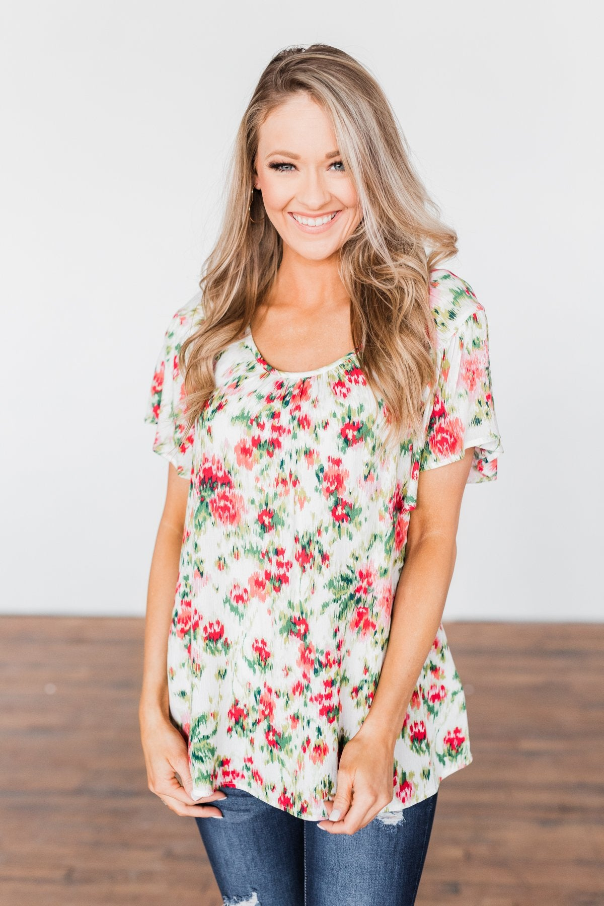 Just Dreaming Floral Top- Ivory