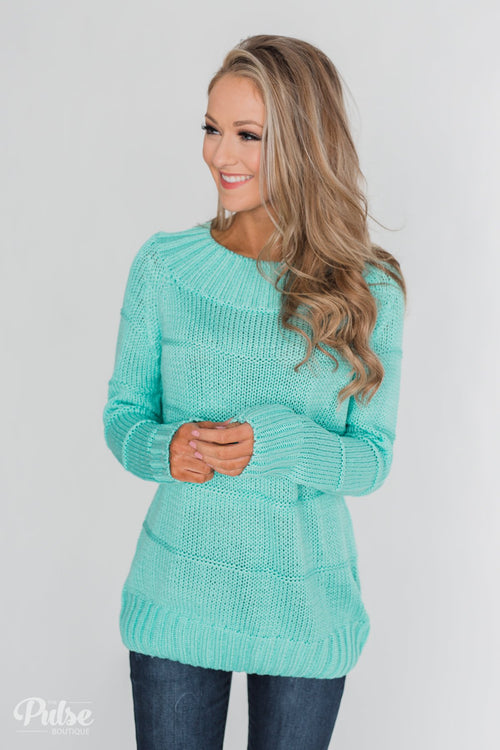 Cuddle Me Close Knitted Sweater- Light Blue