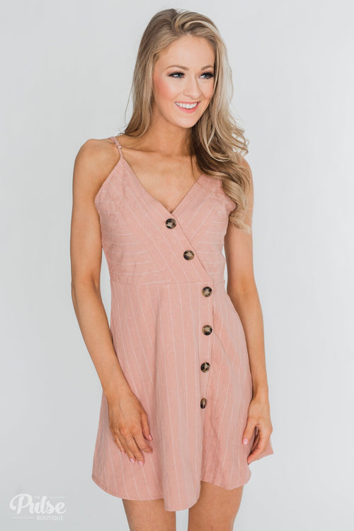 V-Neck Striped Button Dress- Dusty Rose