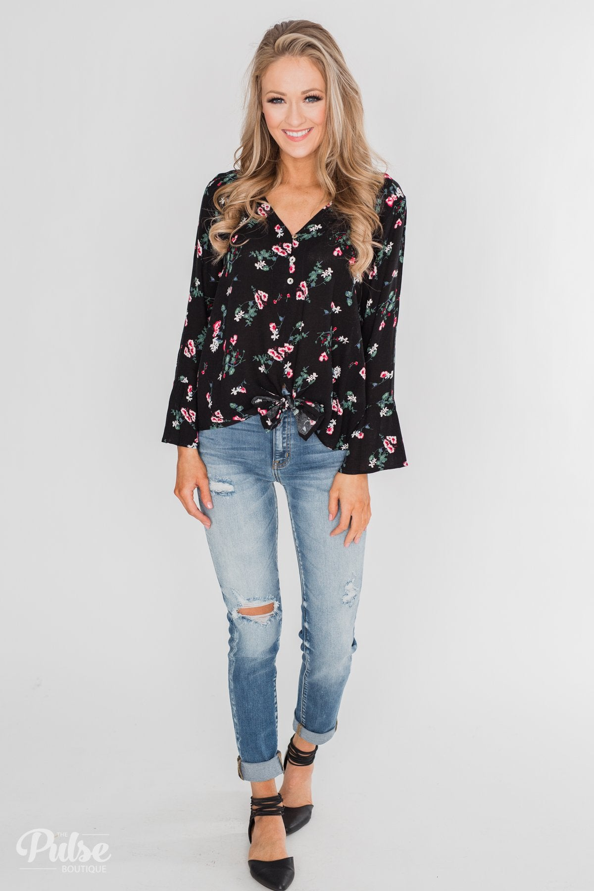 Everything & More Bell Sleeve Floral Blouse- Black