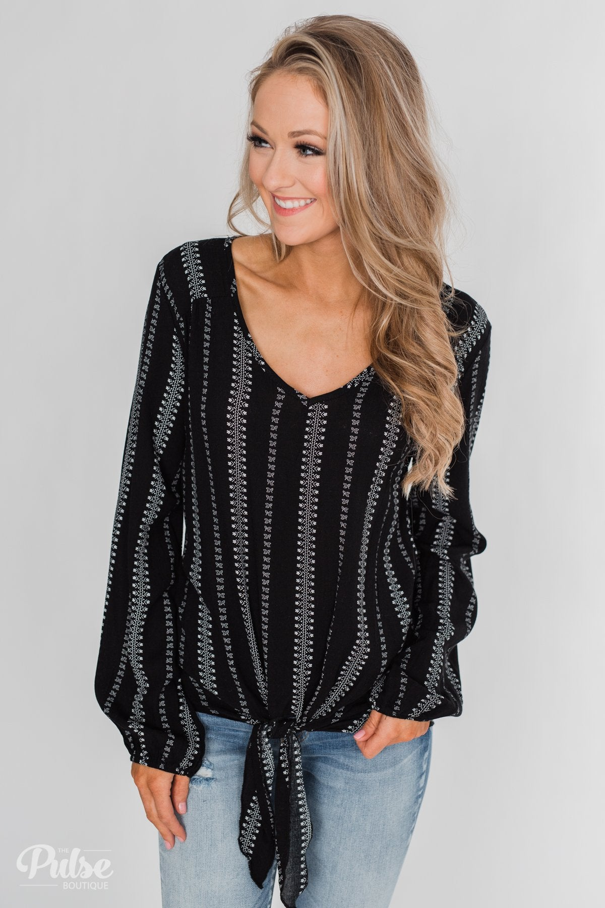 This Isn't Goodbye Front Knot Blouse- Black