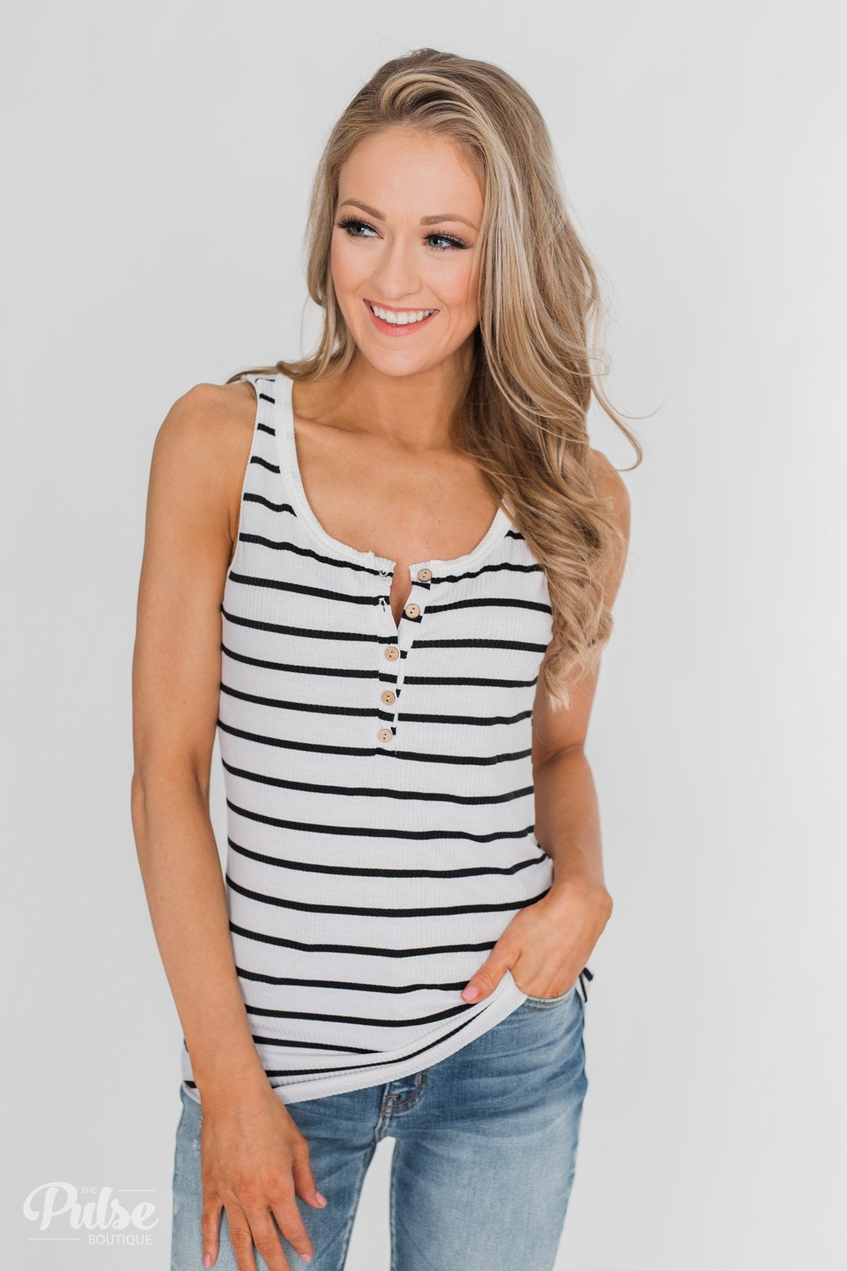 Always Need You 5-Button Henley Tank - Black & White Striped