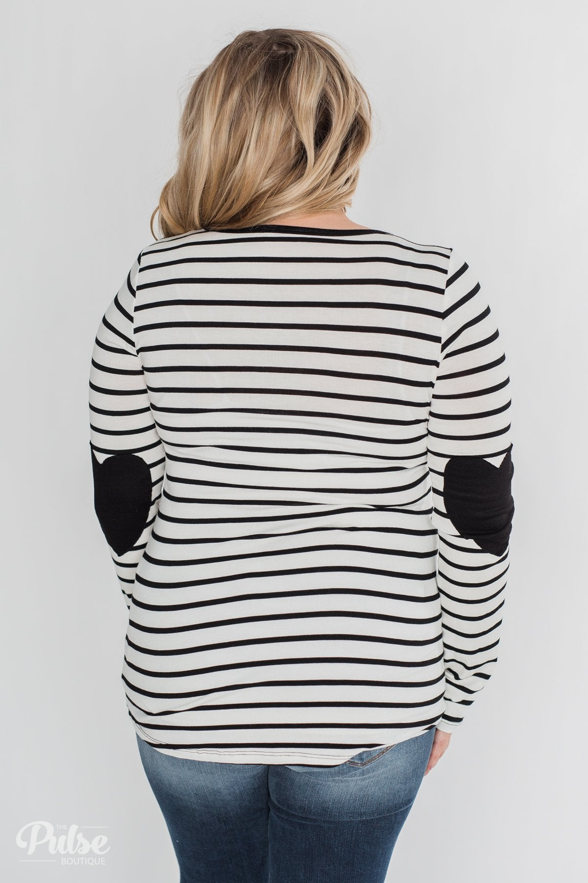 Forever Mine Heart Elbow Patch Top - Black & Ivory
