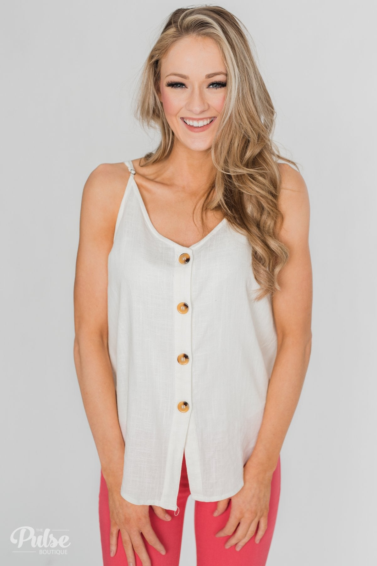 Right This Way Button Tank Top - Ivory