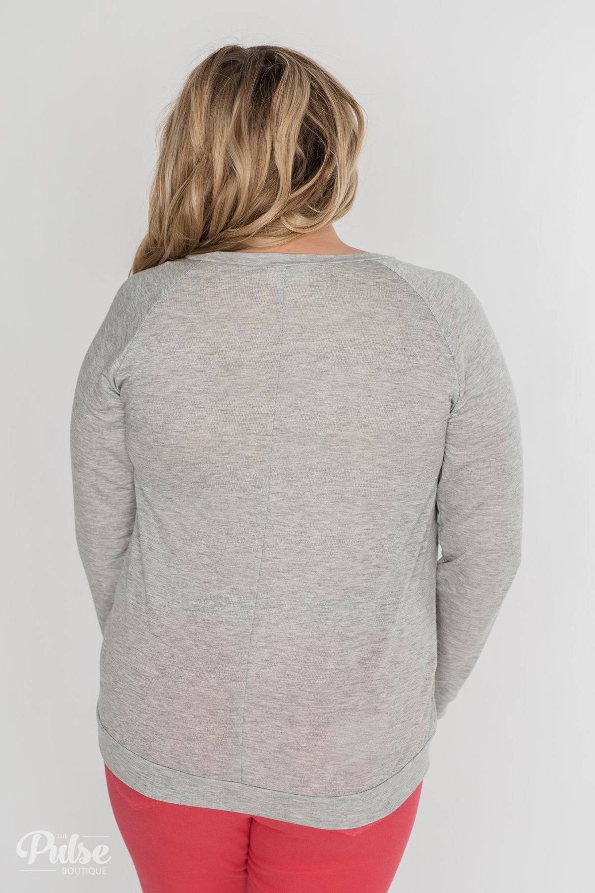 Leopard Has My Heart Pullover Top- Heather Grey
