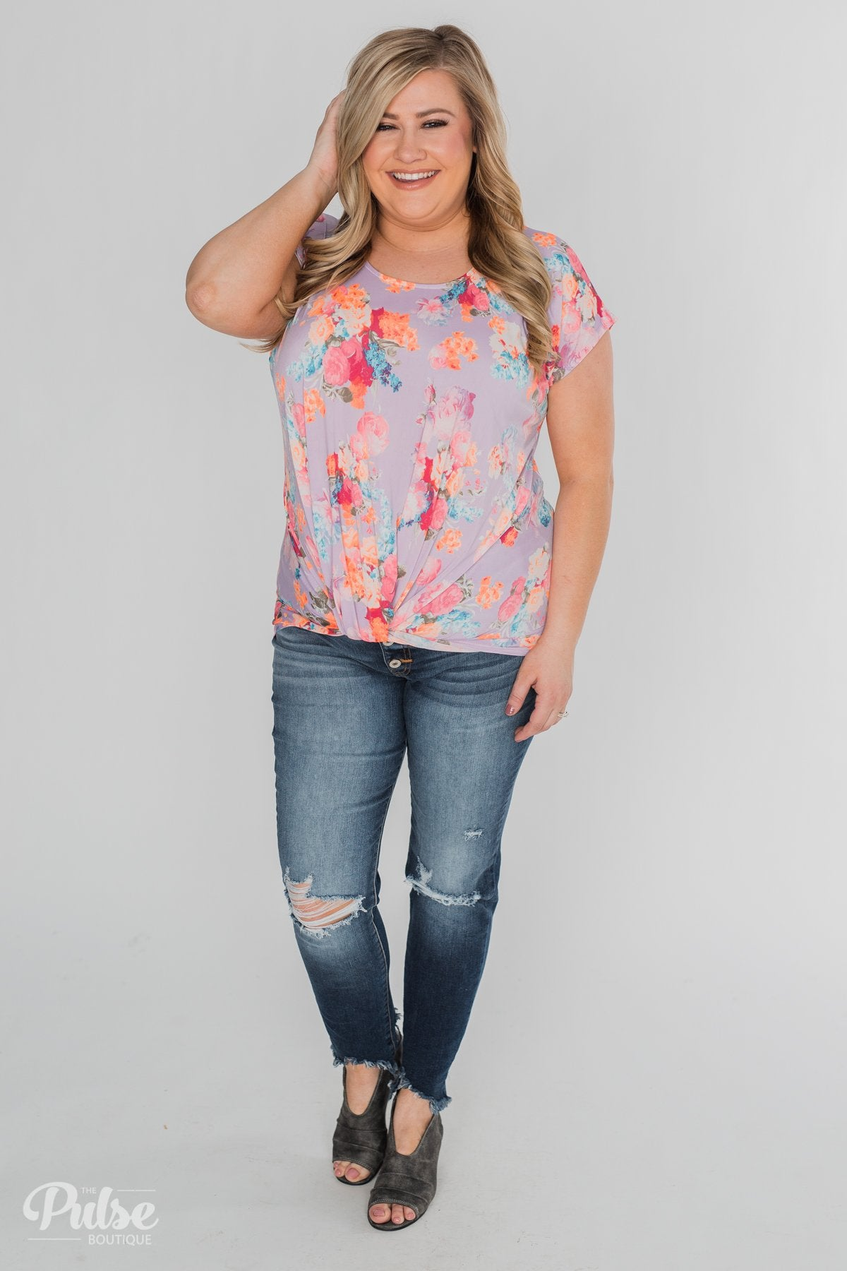 Coral Floral Knot Top- Lilac