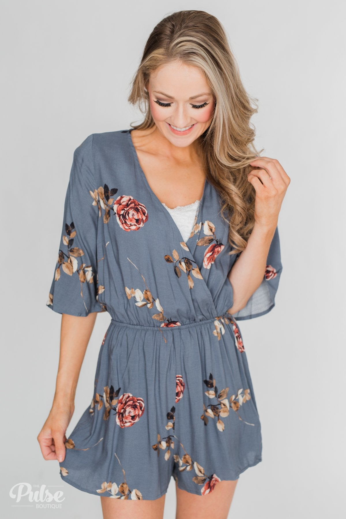 Bloom Where You're Planted Floral Romper - Steel Blue
