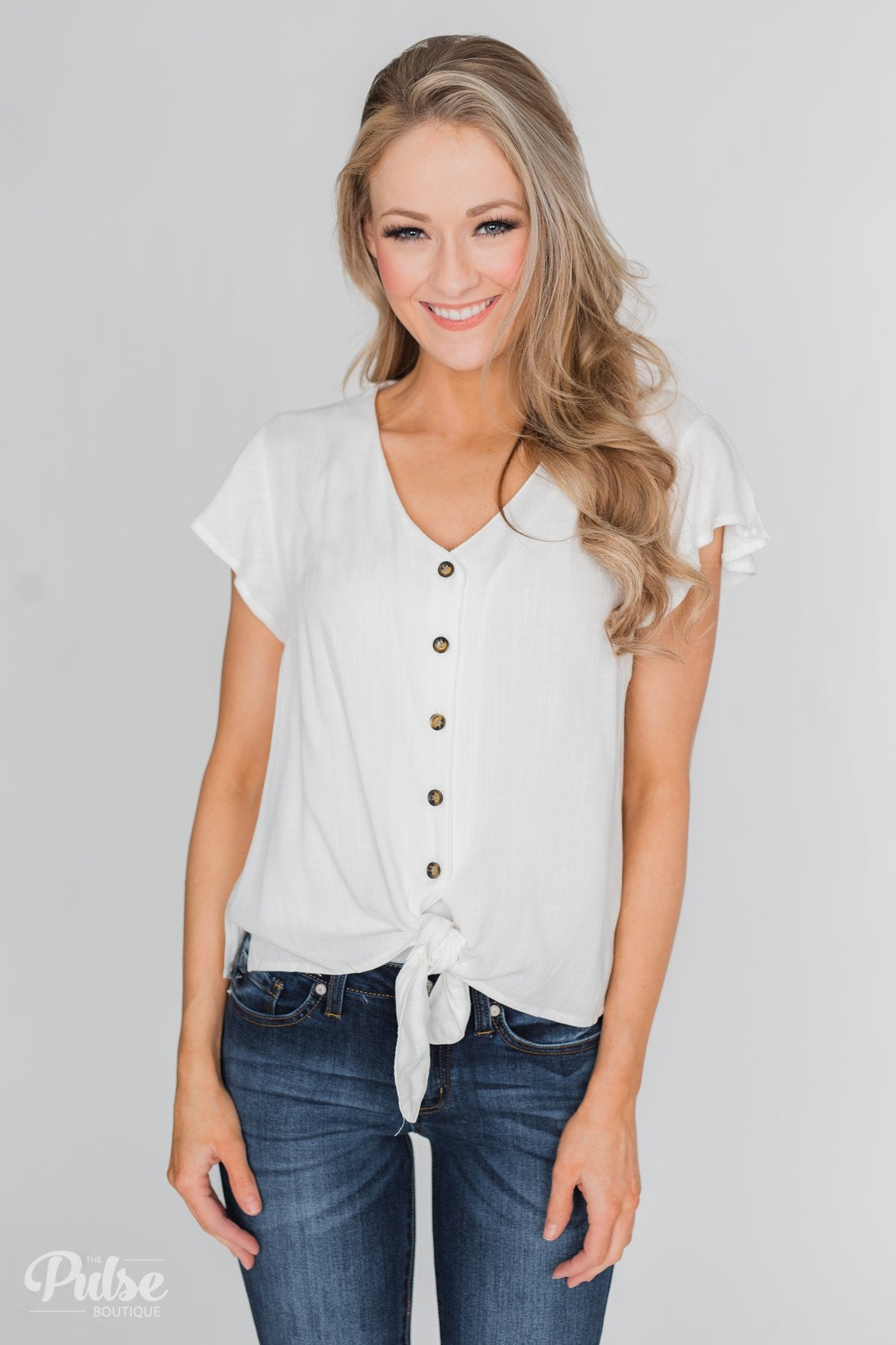 Believe in Me Button Down Top - Off White