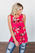 Tale Of Time Floral Babydoll Tank Top- Coral