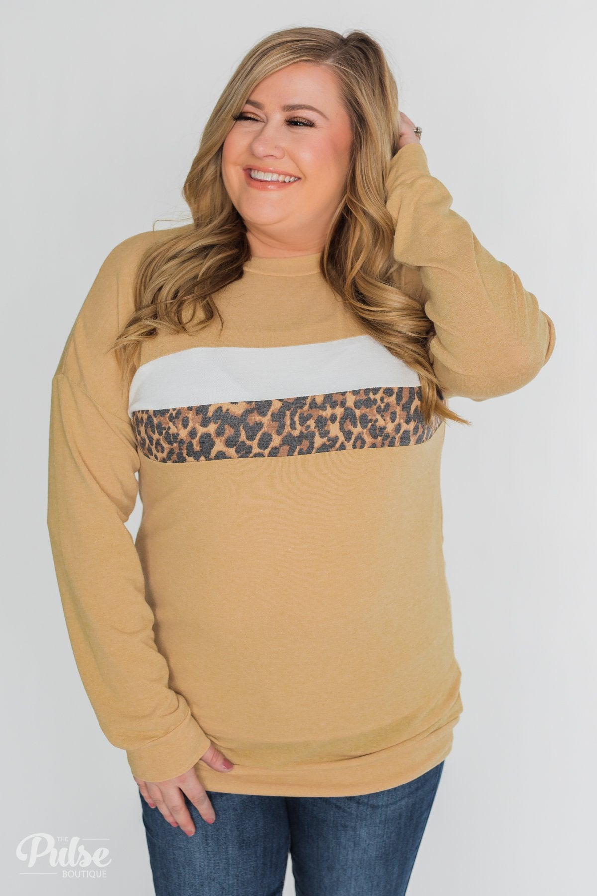 Leap into Leopard Long Sleeve Top - Faded Yellow