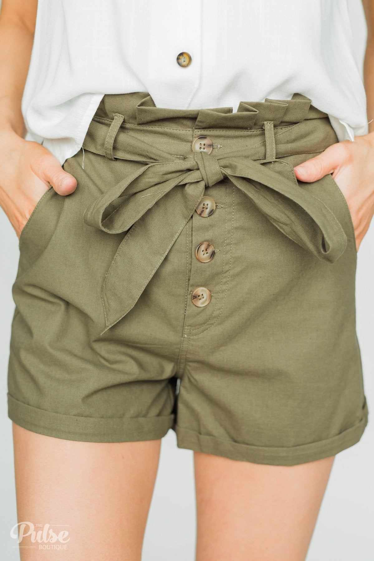 Button-Up Shorts- Olive