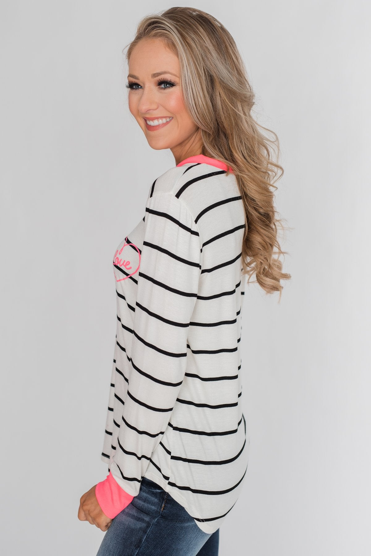 Love in My Heart Striped Top - Ivory & Bright Pink