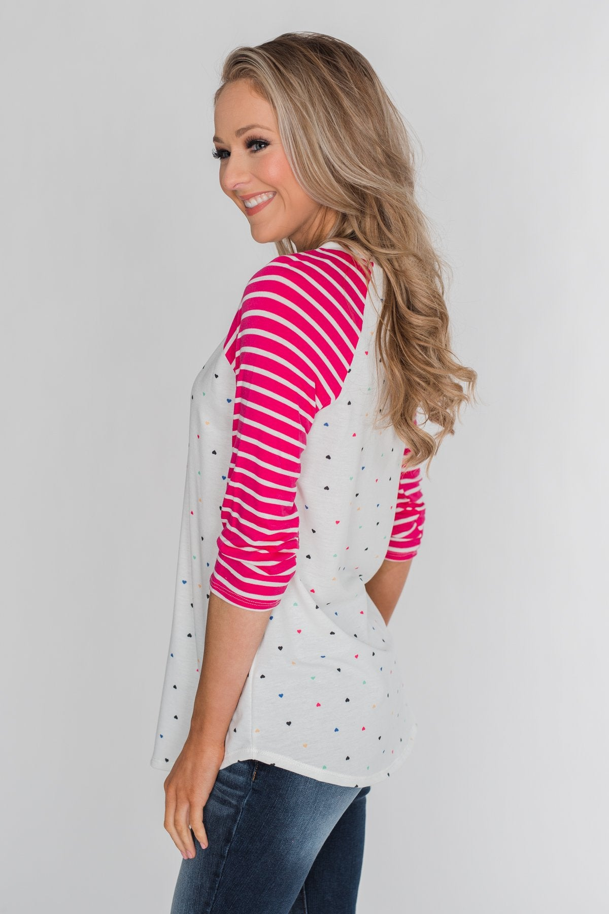 Million Reasons To Love Striped Sleeve Top- Fuschia