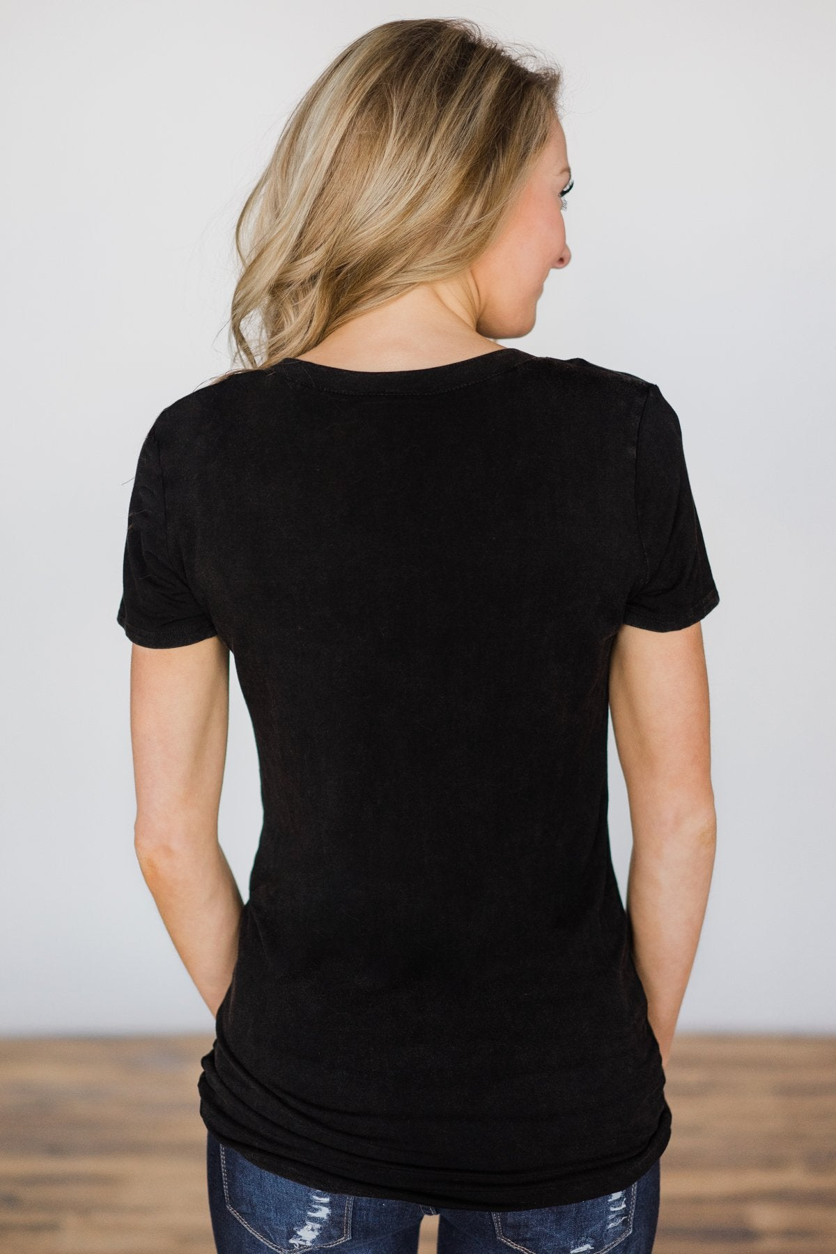Basic Black V-Neck Top