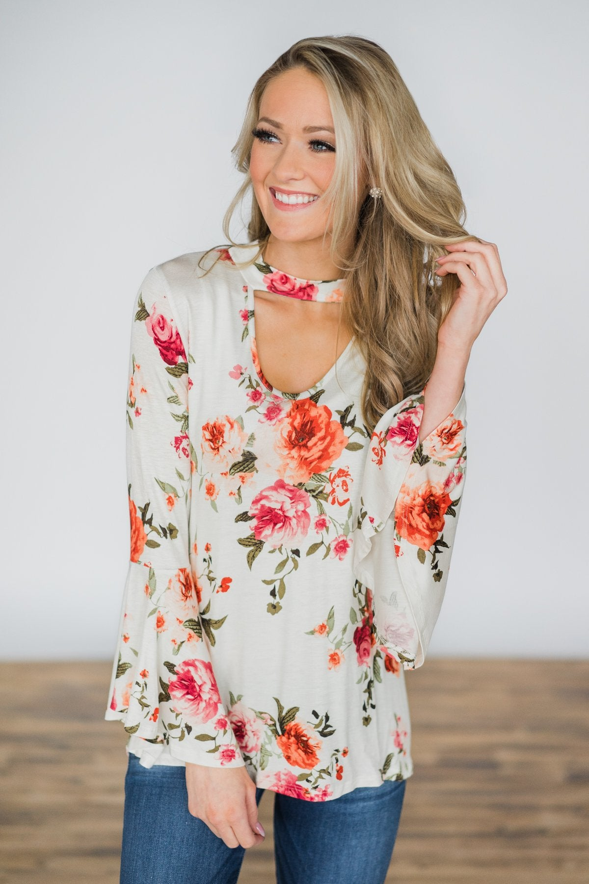 Floral with a Flair Mock Neck Top