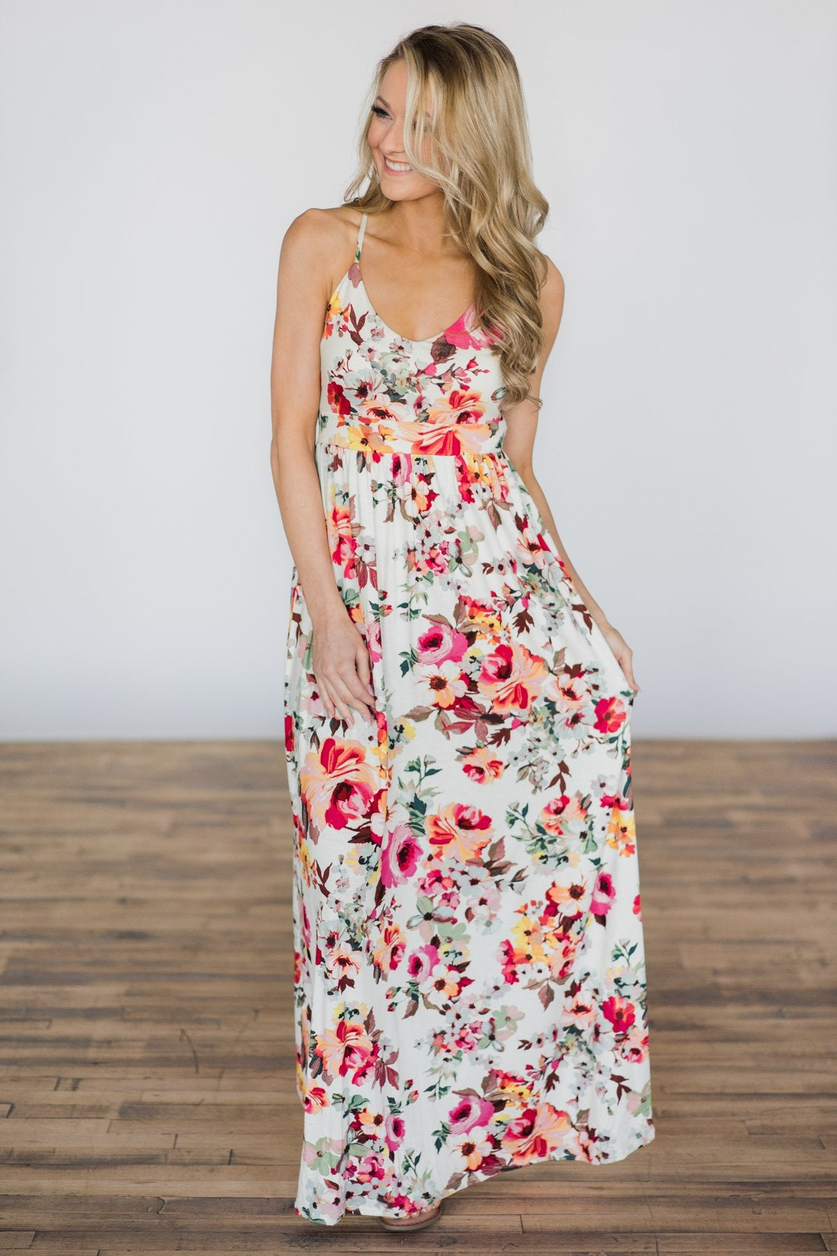 Bahama Breeze Floral Maxi Dress ~ Ivory