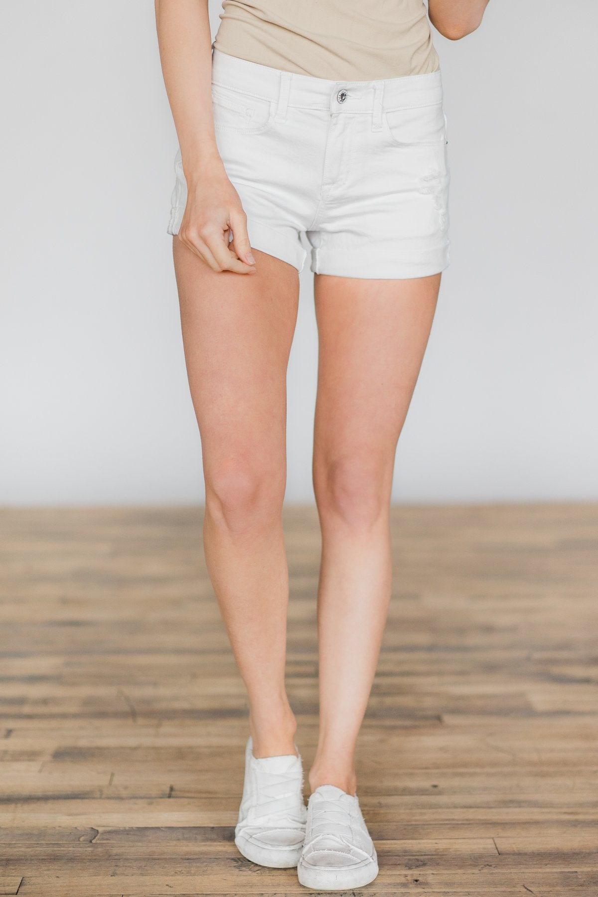 Sneak Peek White Distressed Shorts