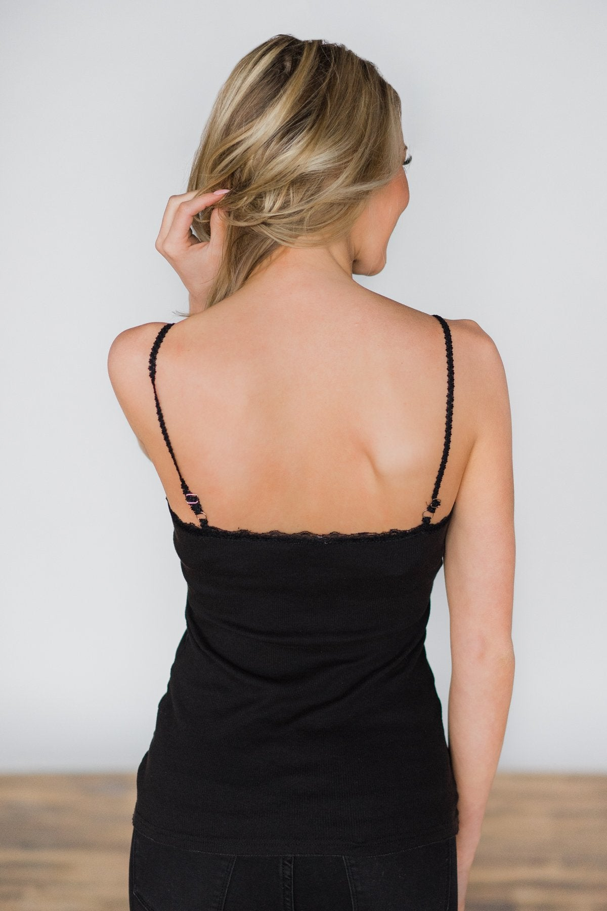 Lace Trimmed Layering Tank Top- Black