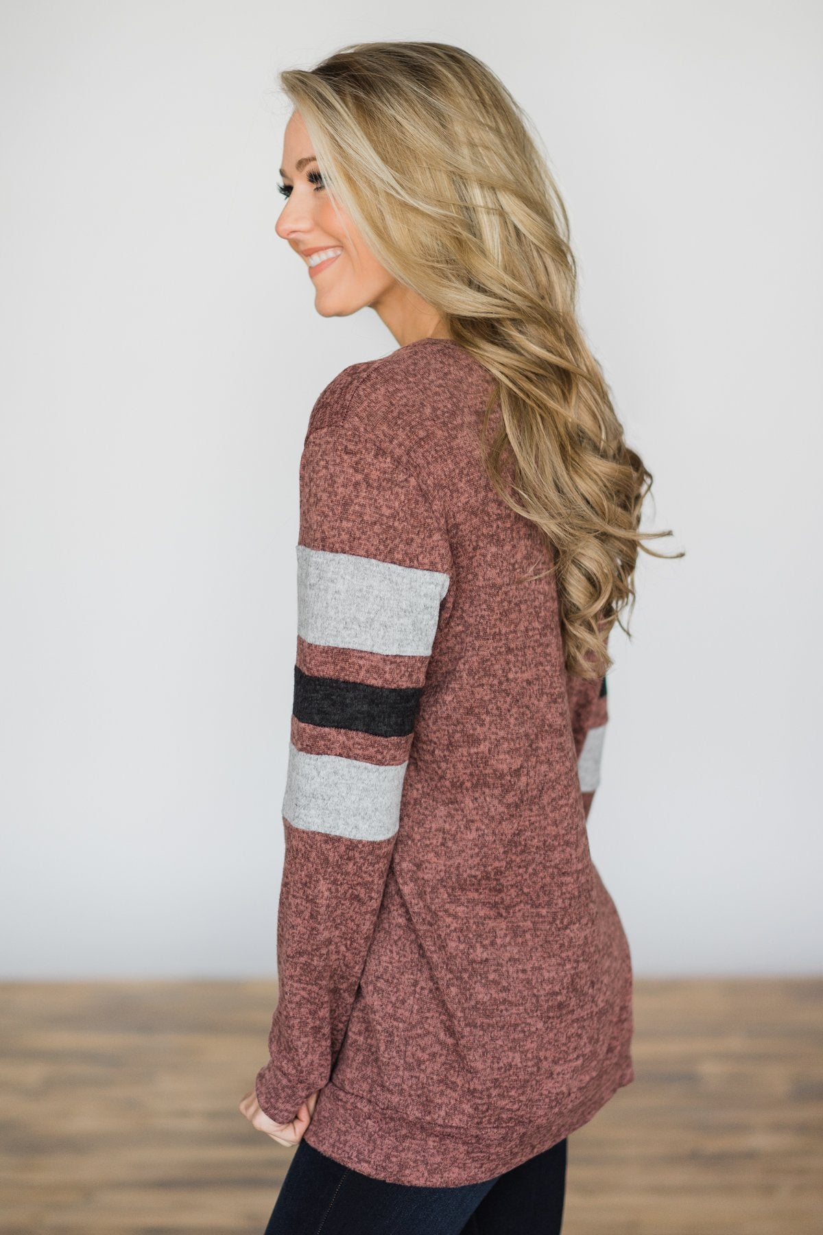 Casual Beauty Long Sleeve Top - Maroon
