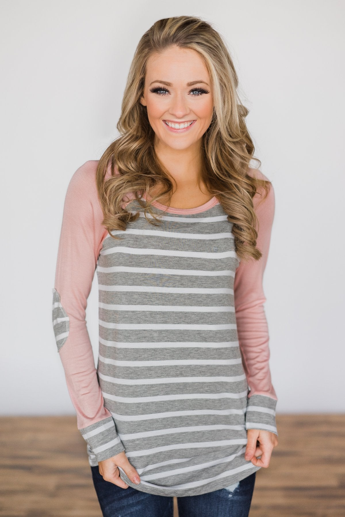 Can't Let You Go ~ Pink & Grey Striped Top