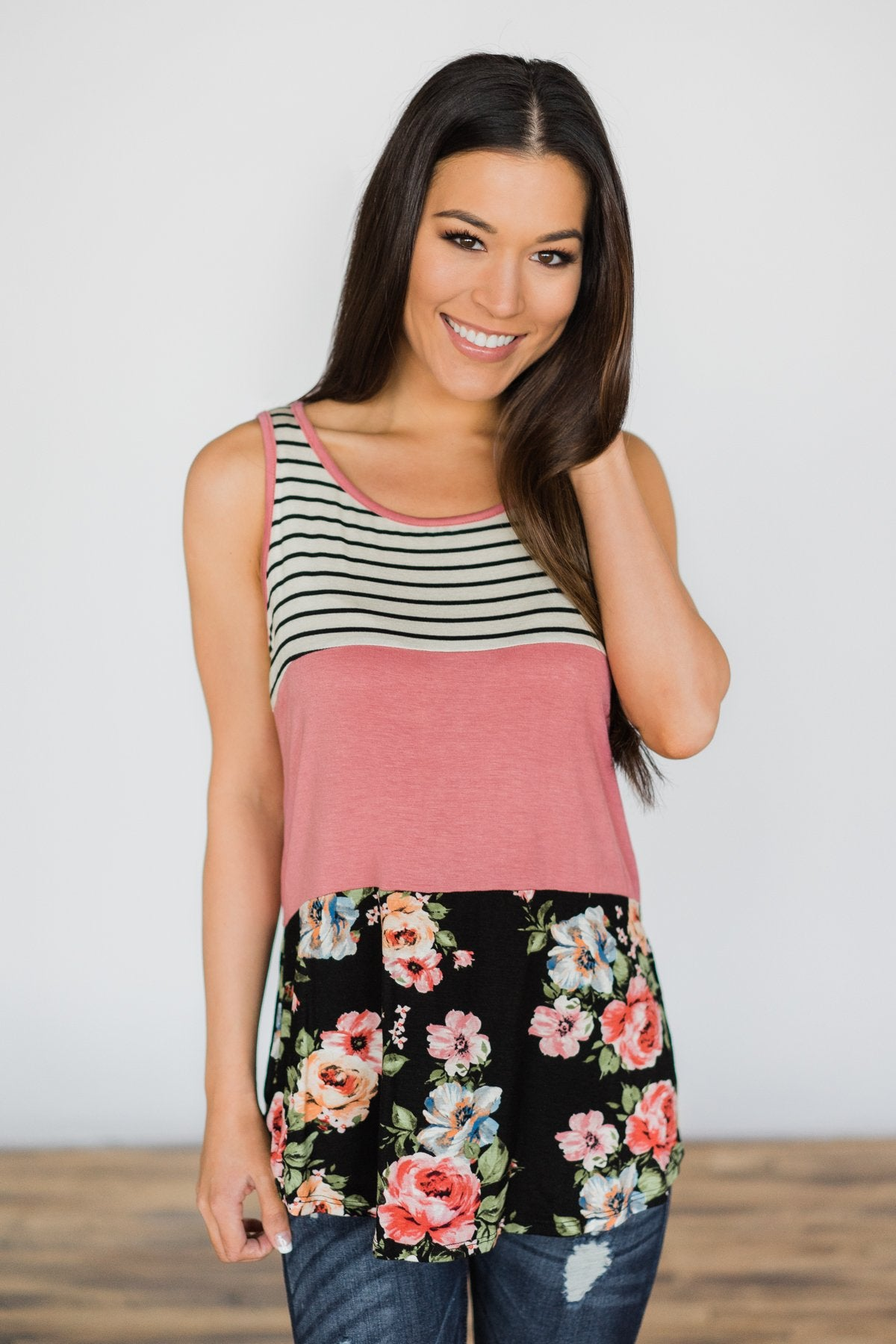 On the Brightside Color Block Top ~ Hot Pink