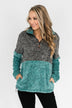 Adjustable Band Color Block Sherpa- Charcoal & Turquoise
