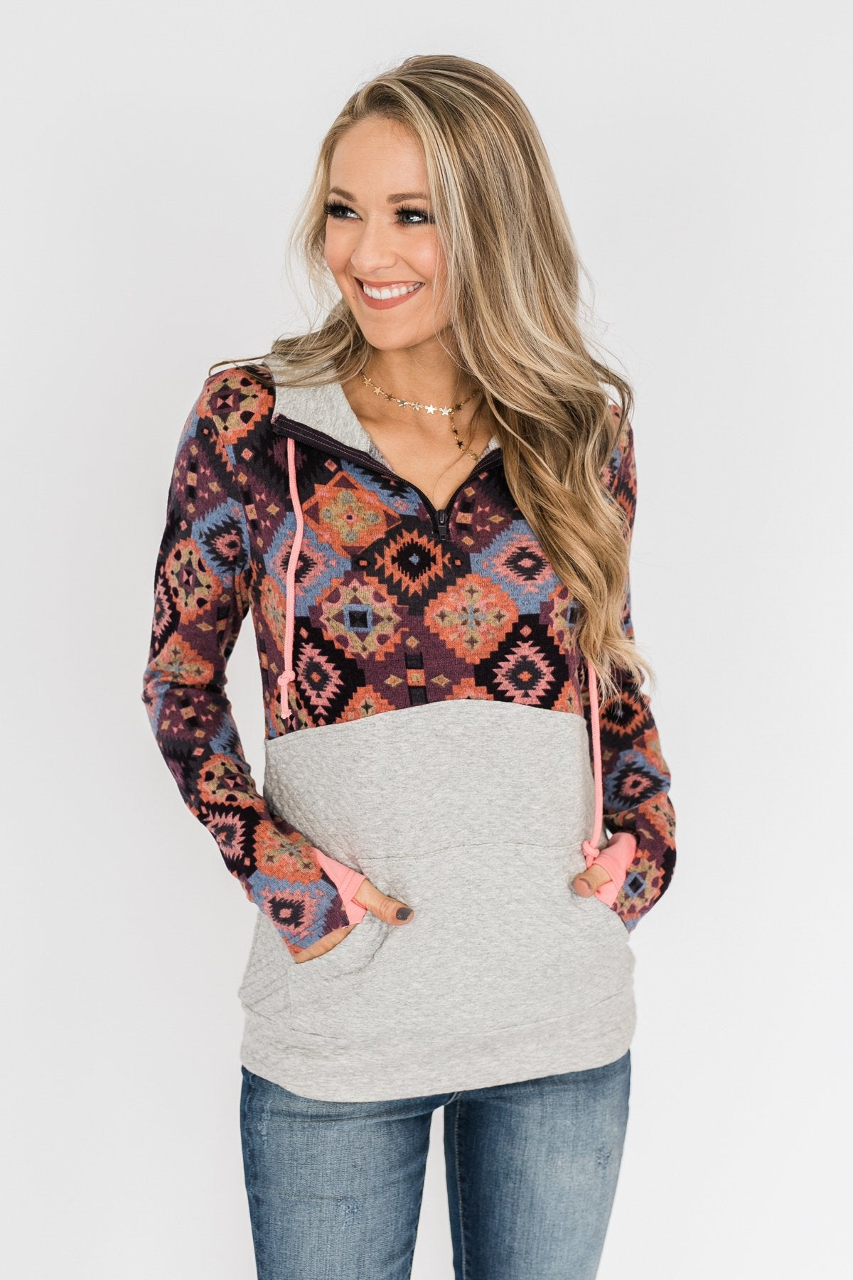 Aztec Quilted Drawstring Hoodie- Grey, Pink, & Purple Tones