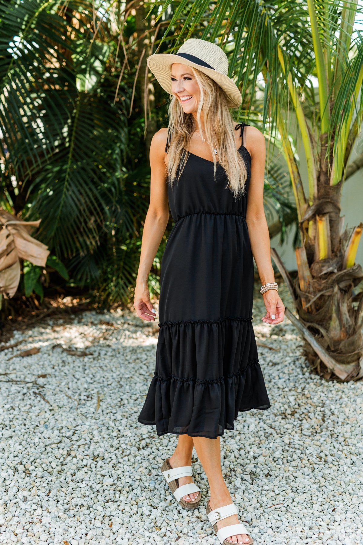 Finding Paradise Midi Dress- Black