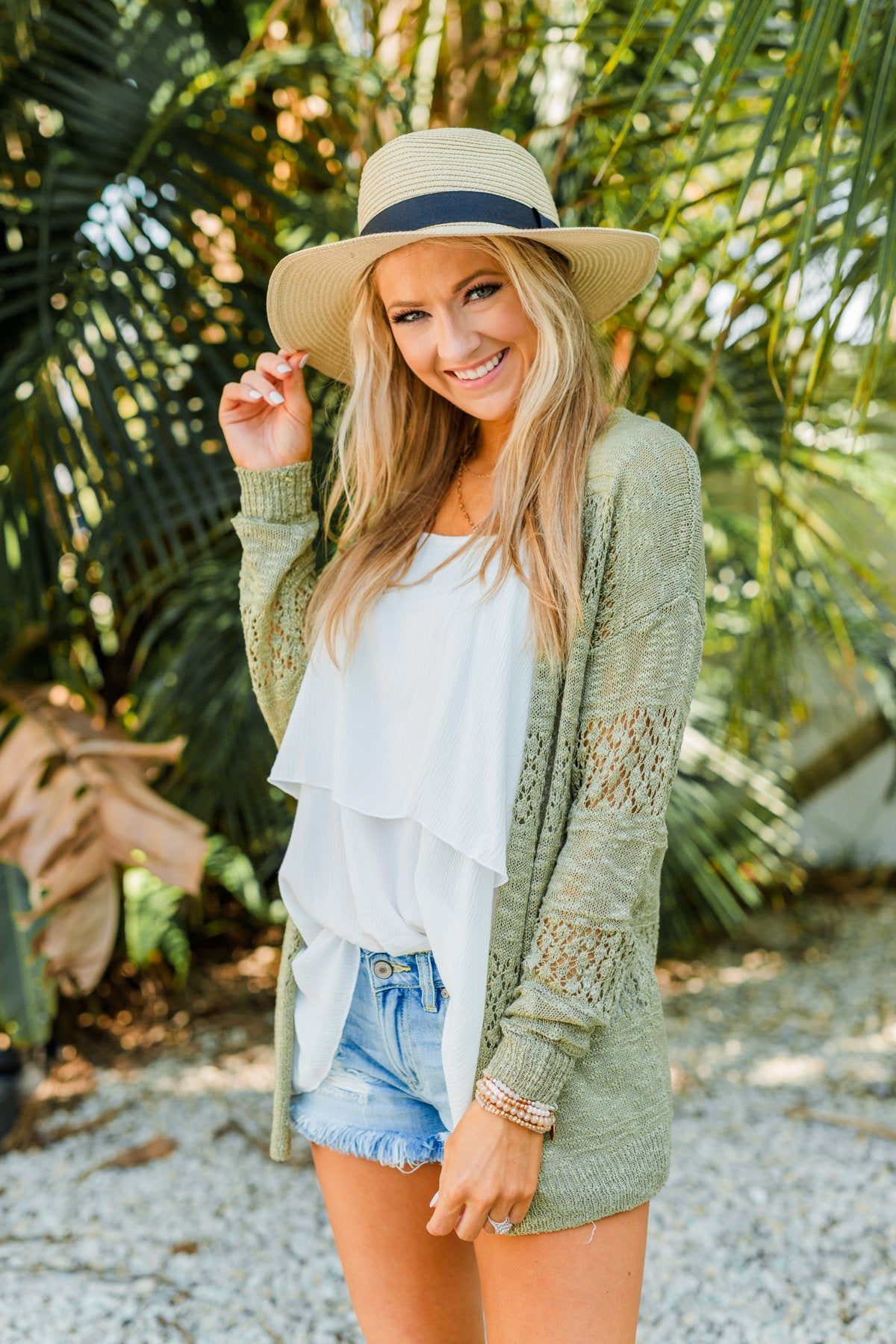Lovely Life To Live Open Knit Cardigan- Sage