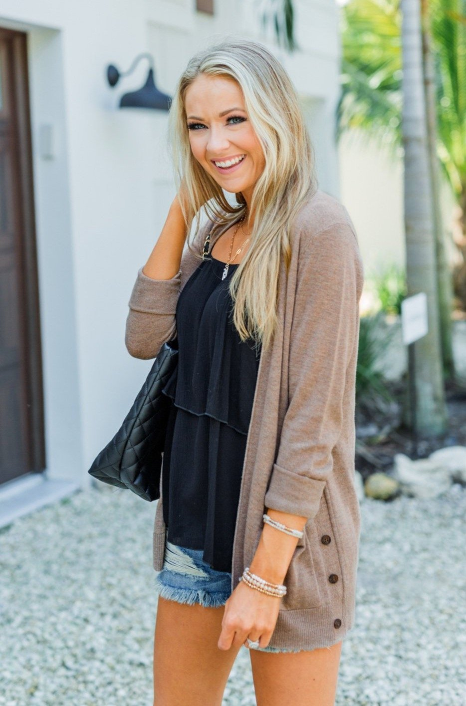 True To My Heart Open Front Cardigan- Dark Mocha
