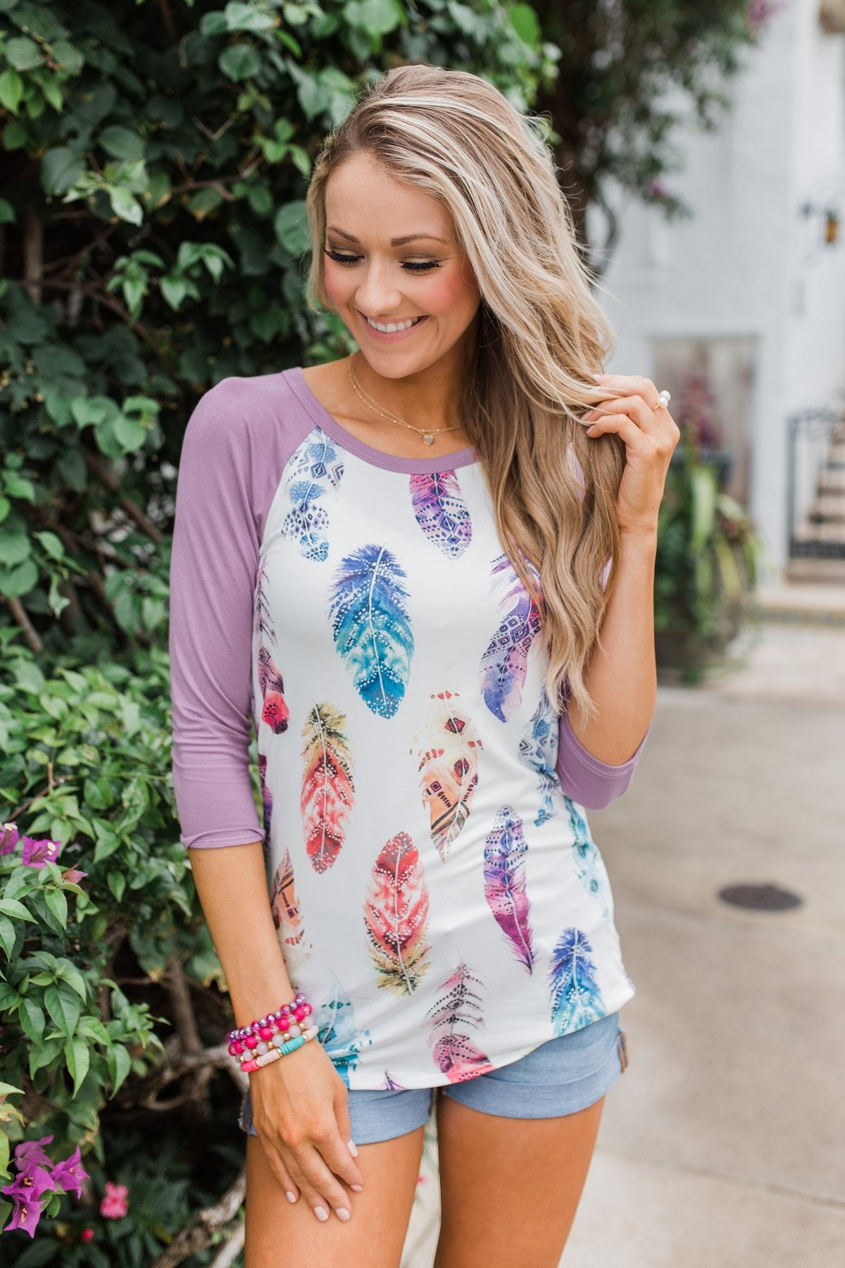 Aztec Feather 3/4 Sleeve Top- Lavender