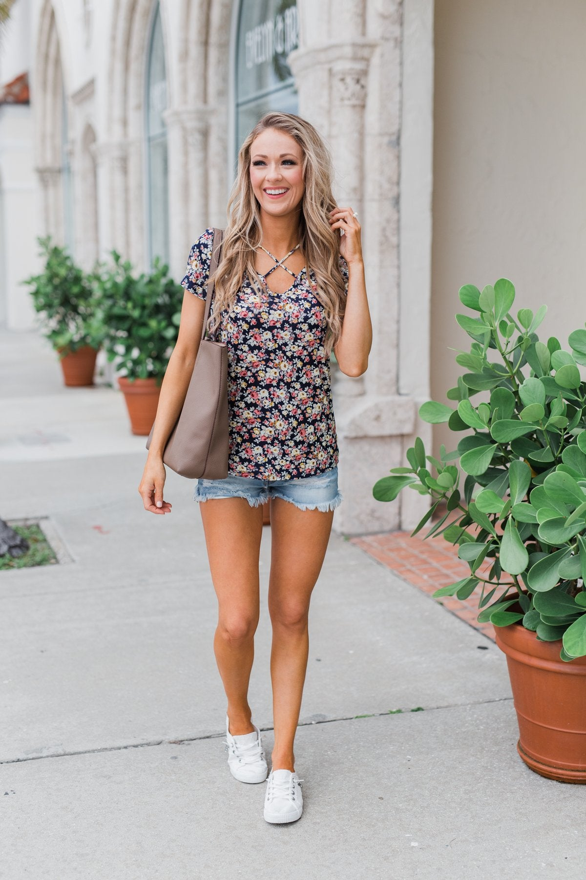 Take Me Away Floral Criss-Cross Top- Navy