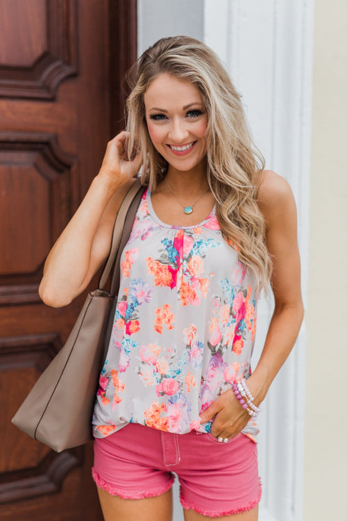 A Coral Floral Summer Tank- Nude