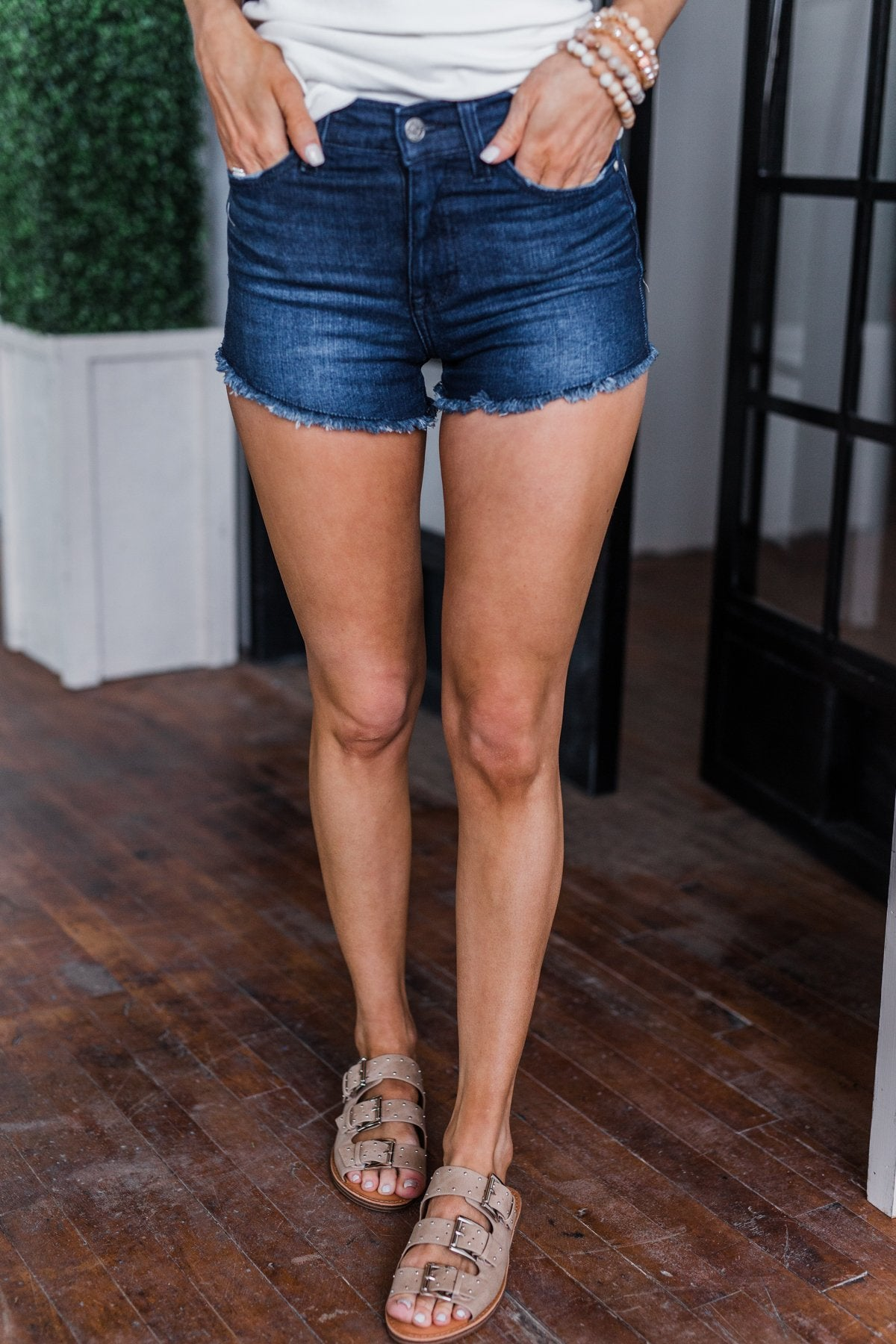 Celebrity Pink Frayed Hem Denim Shorts- Dark Wash