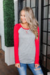 Season Awaits Long Sleeve Raglan Top- Deep Coral