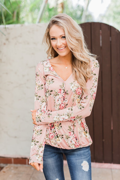 Endless Possibilities Floral Wrap Top- Mauve