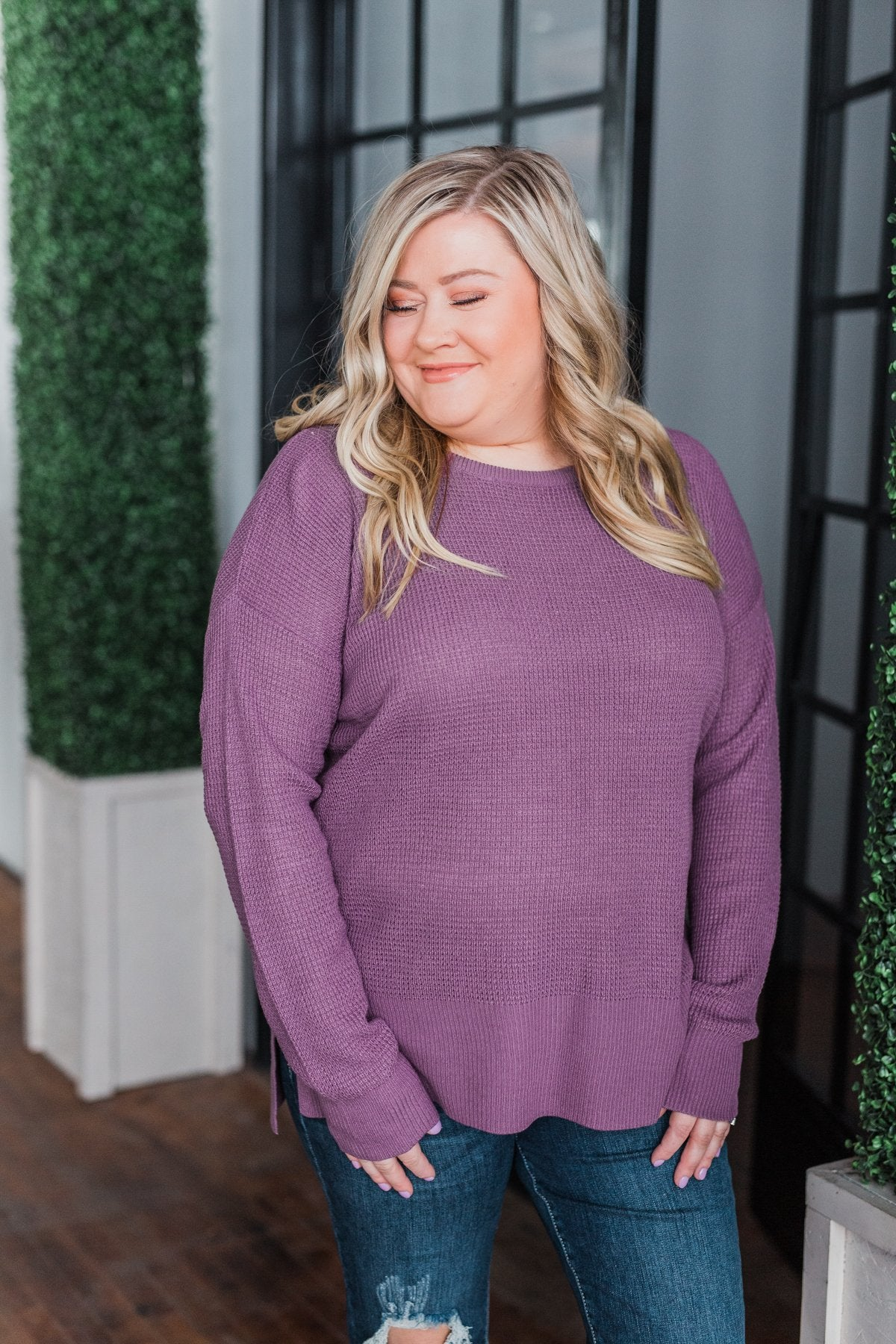 Dream About Us Knit Sweater- Deep Purple
