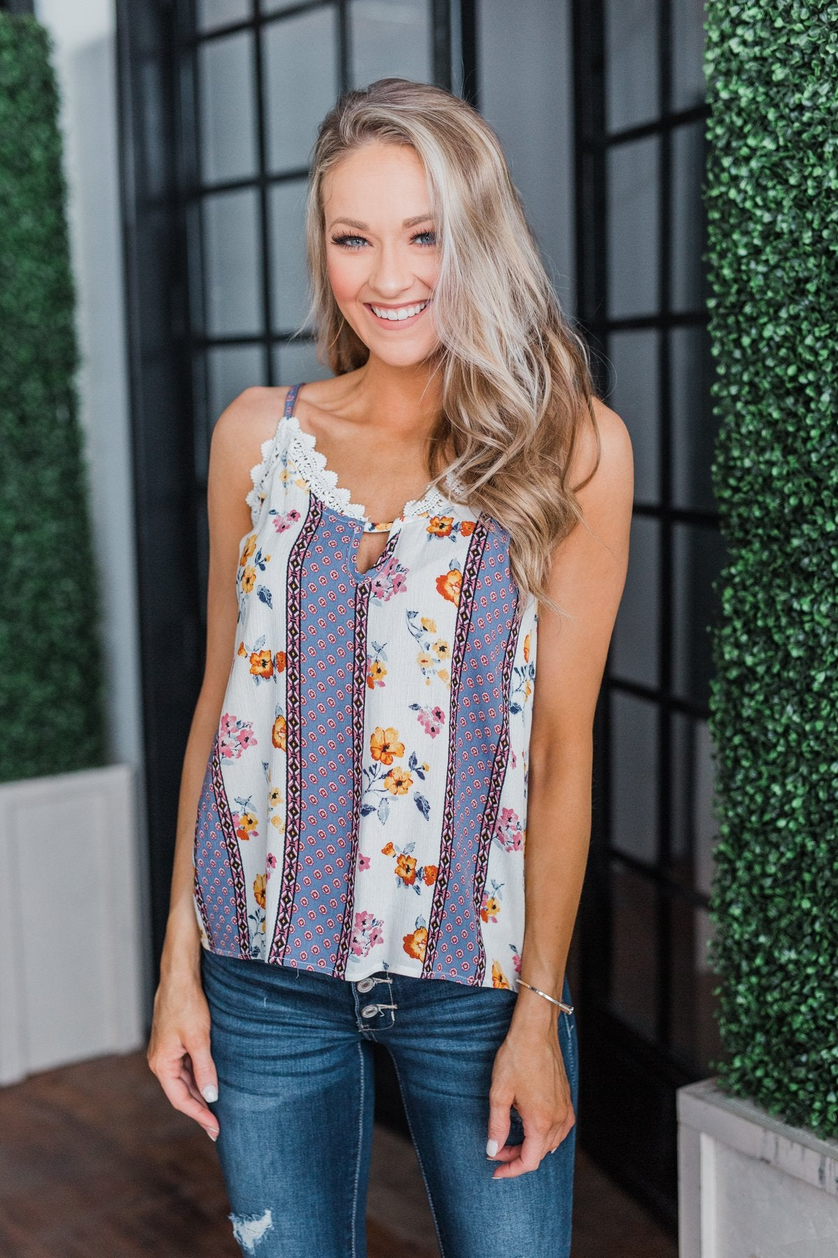 Flirty and Fun Keyhole Tank Top- Ivory & Dusty Blue