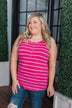 Striped Button Henley Tank Top- Hot Pink