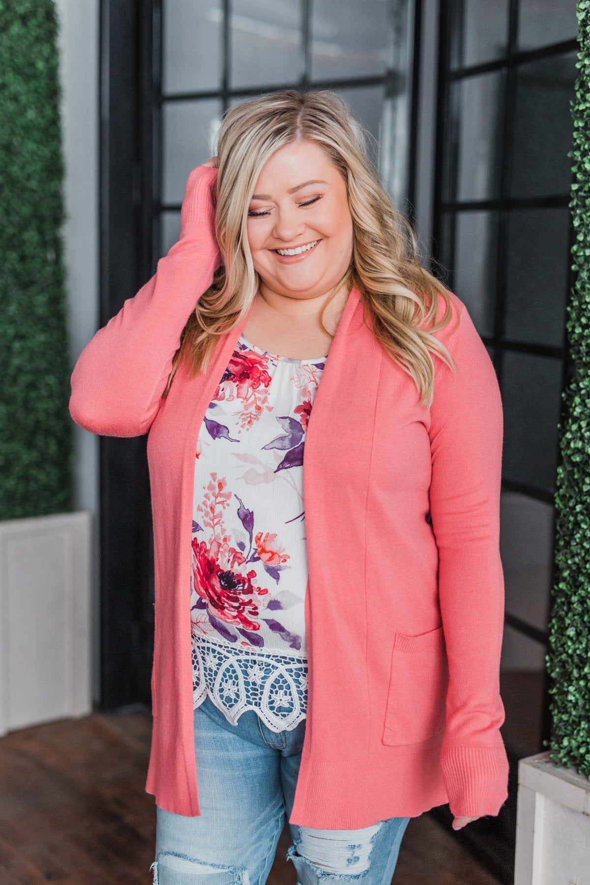 Time To Be Alive Drape Cardigan- Coral